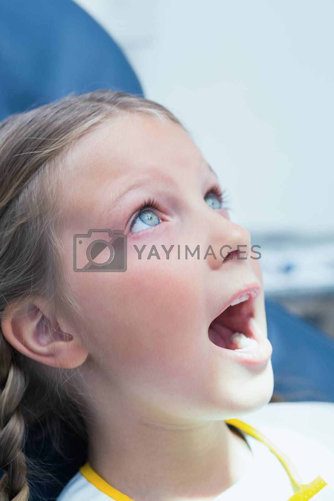 Close up of a little girl waiting for a dental exam