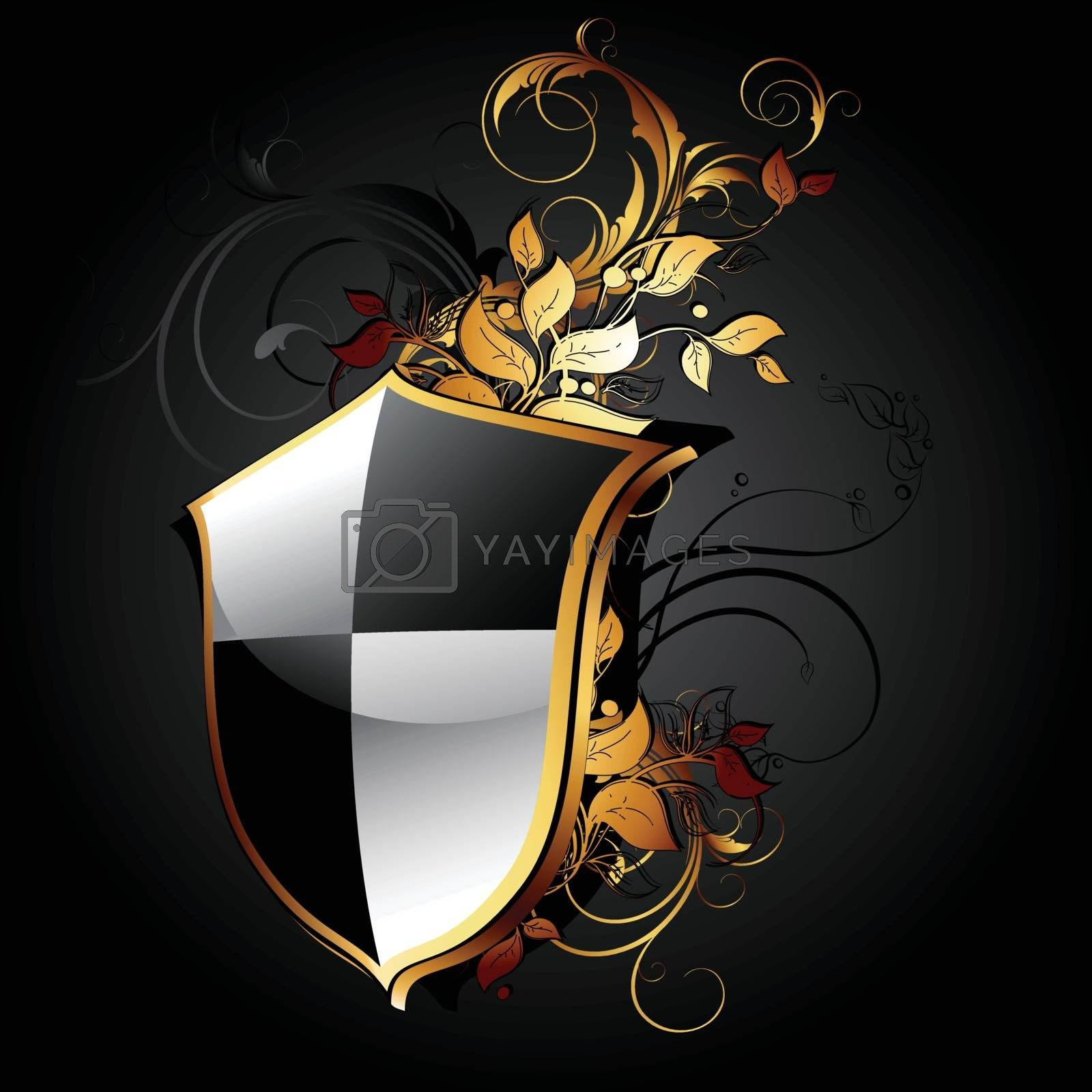 web icon shield with floral elements