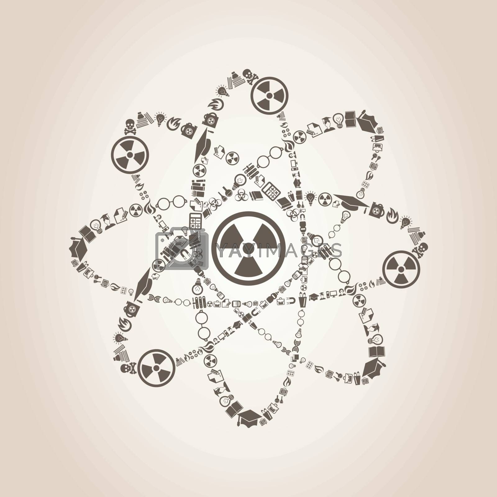 Atom made of objects of science. A vector illustration