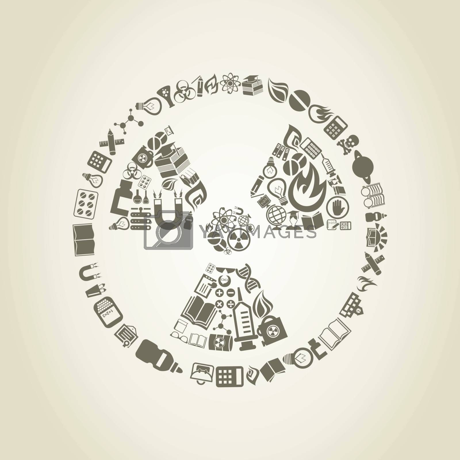 Chemical danger made of objects of science. A vector illustration