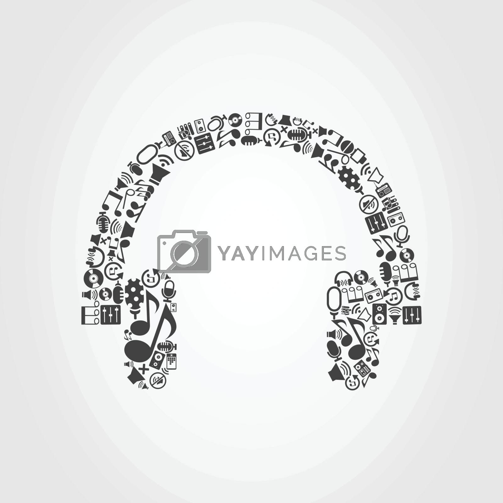 Earphone made of music subjects. A vector illustration