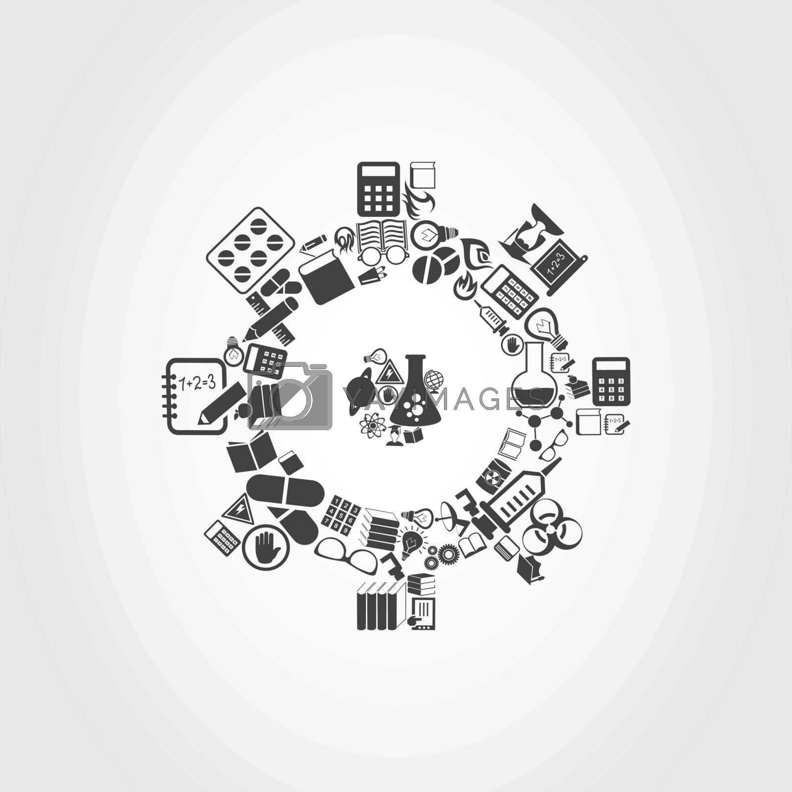 Gear wheel made of objects of science. A vector illustration
