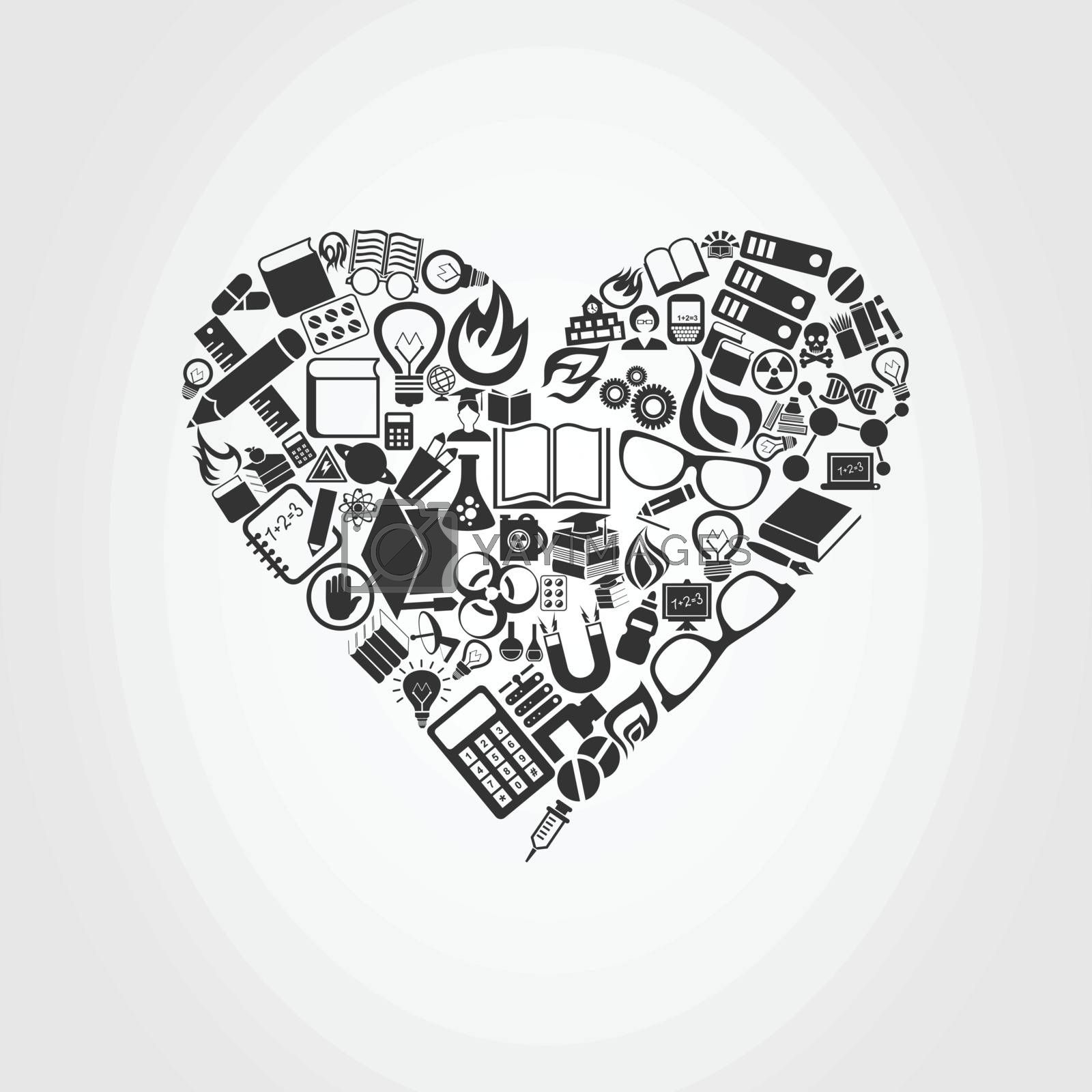 Heart made of objects of science. A vector illustration