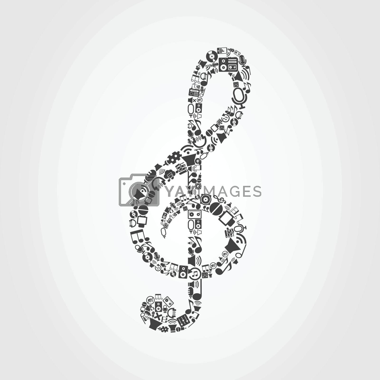 Musical key made of music subjects. A vector illustration
