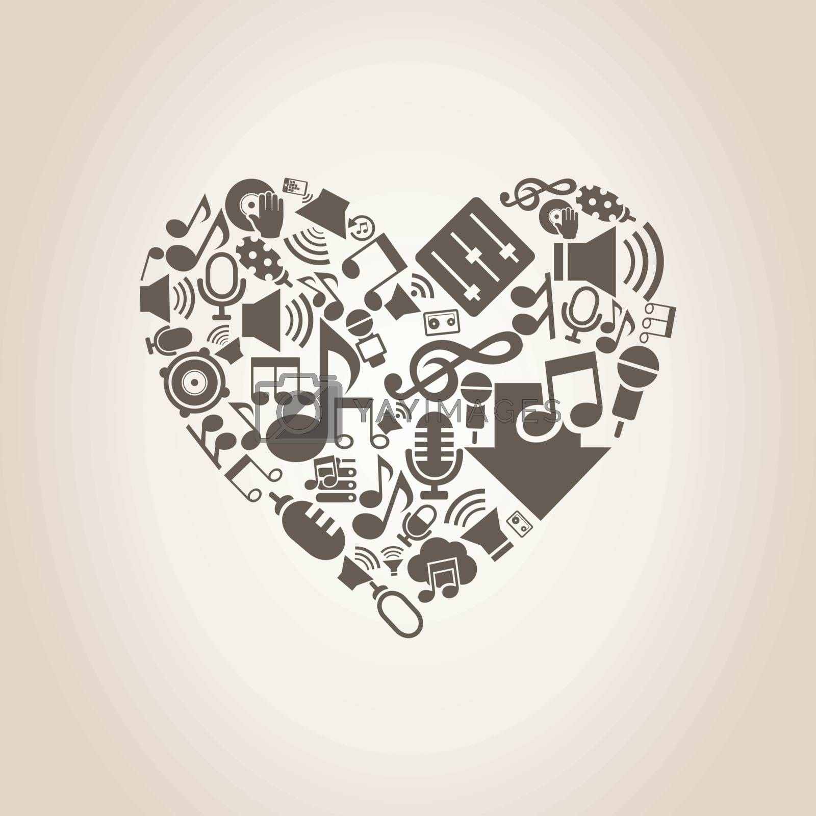 Heart made of music subjects. A vector illustration