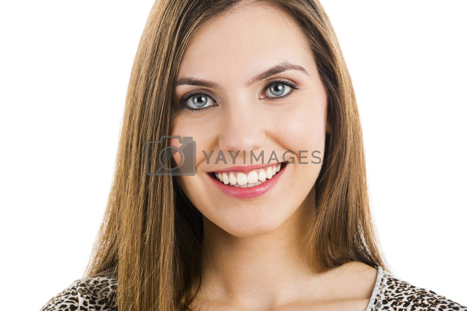 Portrait of a beautiful woman smiling, isolated on white
