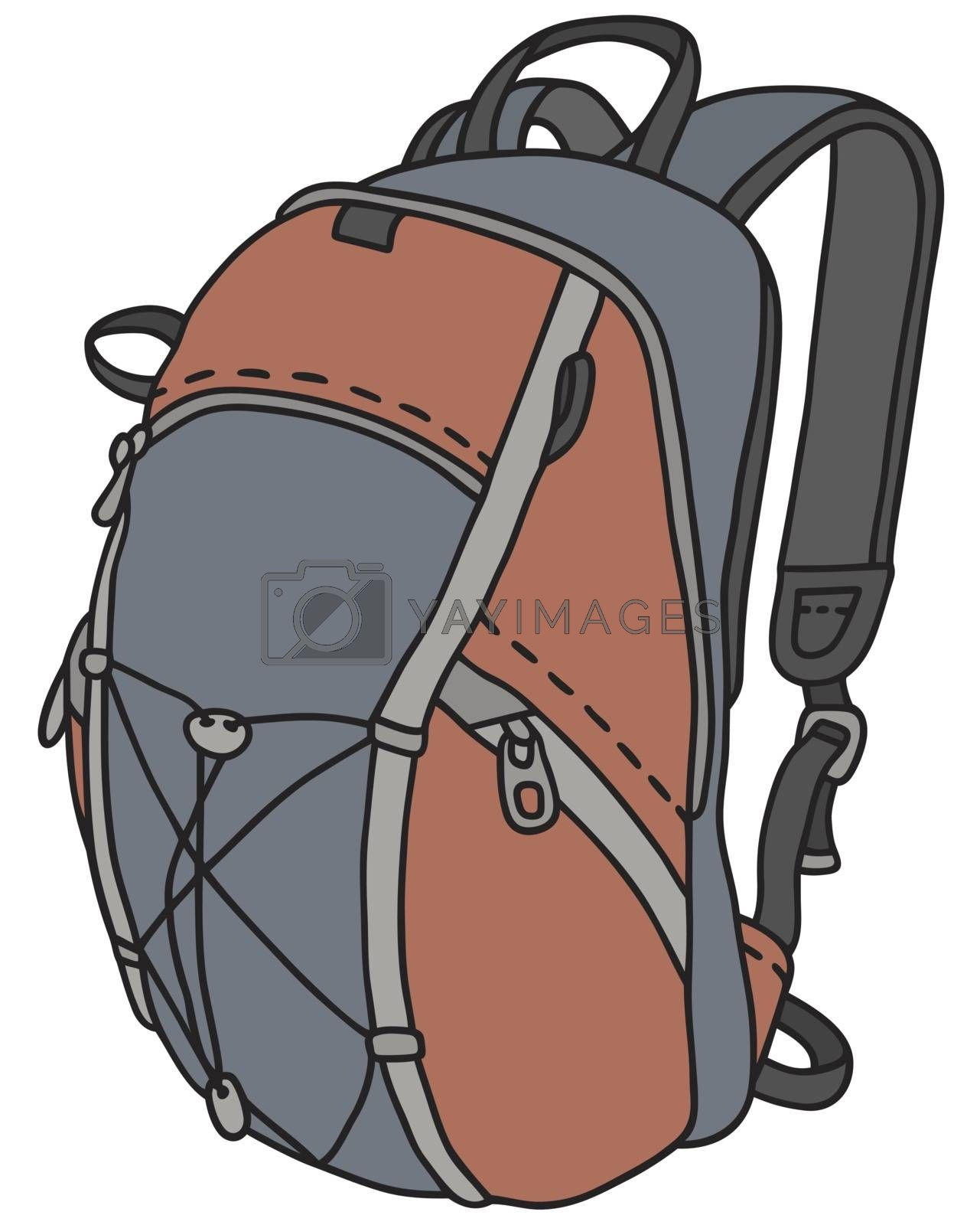Hand drawing of a red and blue sports bag