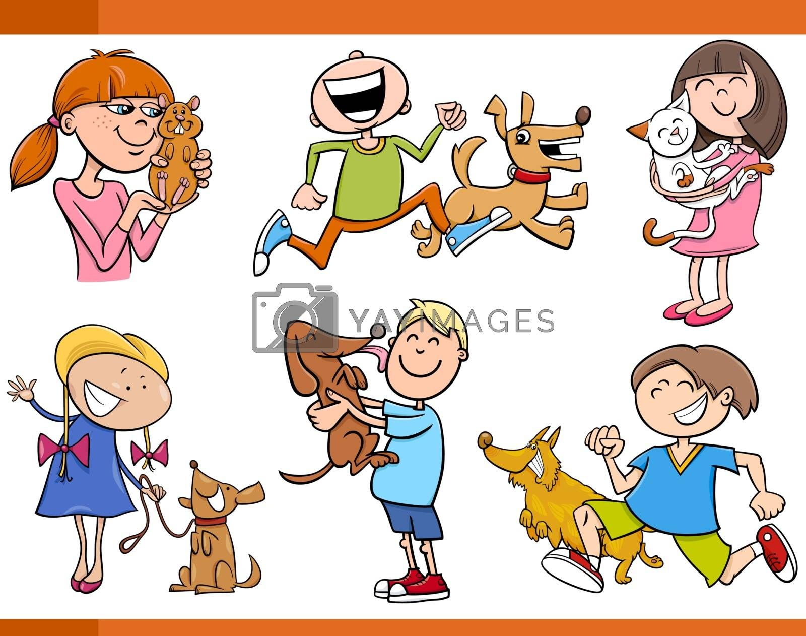 Cartoon Illustration of Kids with Pets Characters Set
