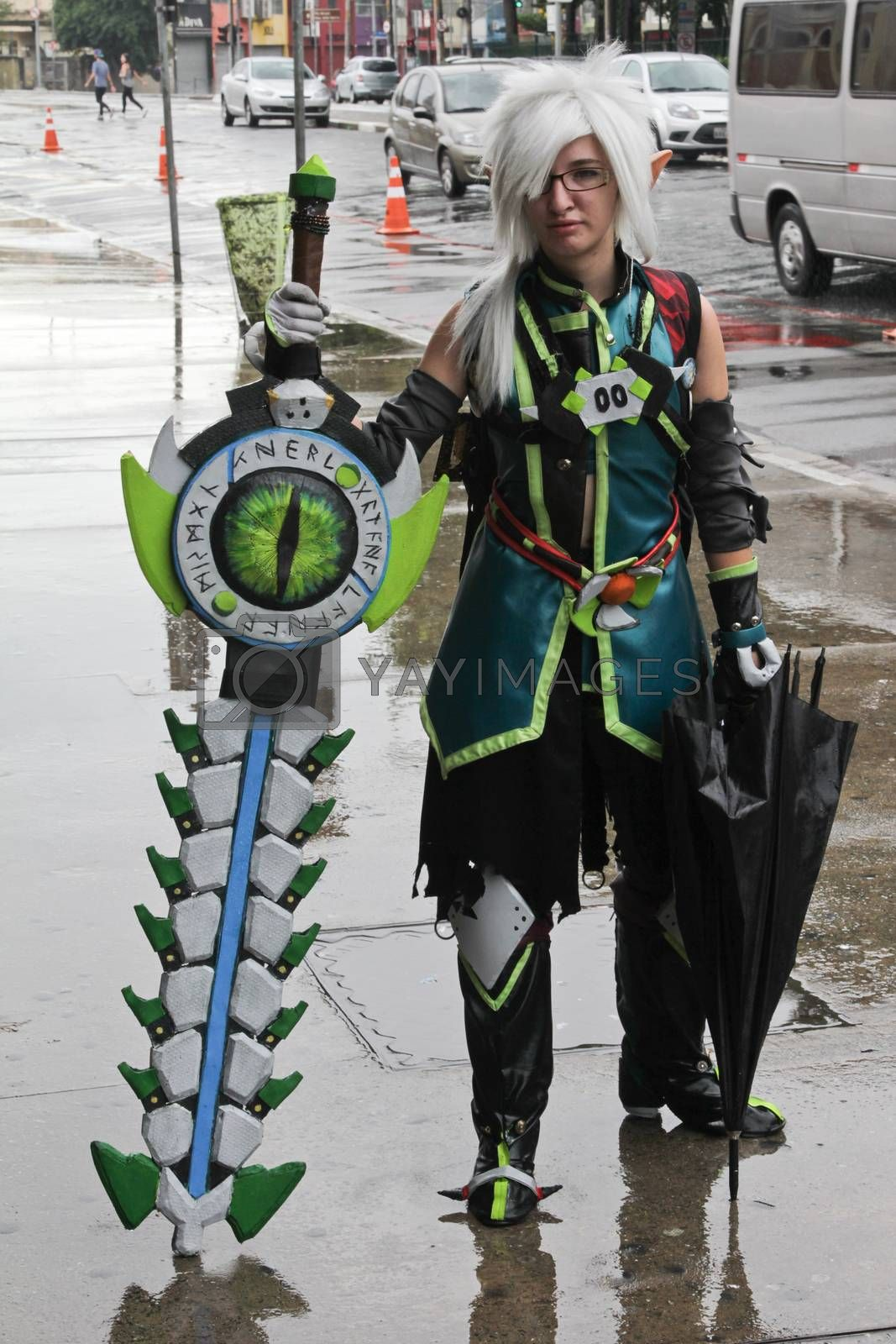 SAO PAULO, BRAZIL - MARCH 8, 2015: An unidentified girl cosplay with traditional costumes on the street of Sao Paulo Brazil.