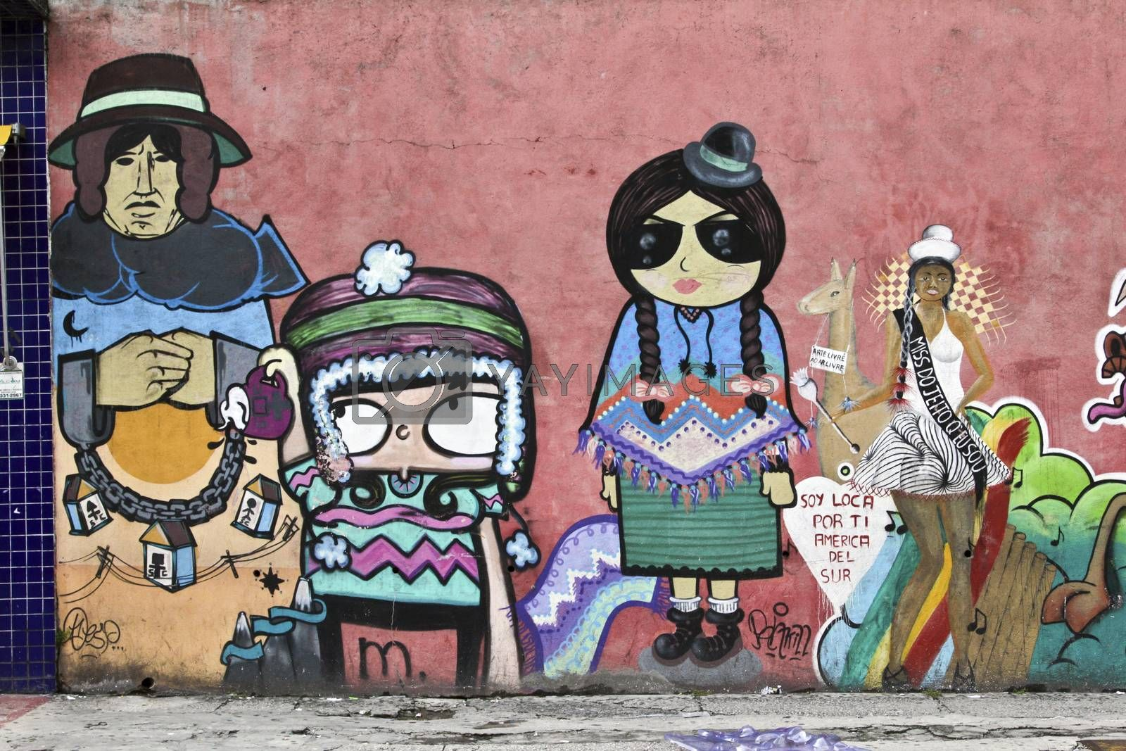 SAO PAULO, BRAZIL MARCH 8, 2015: A big and color mural on the wall in the streets of Sao Paulo Brazil.