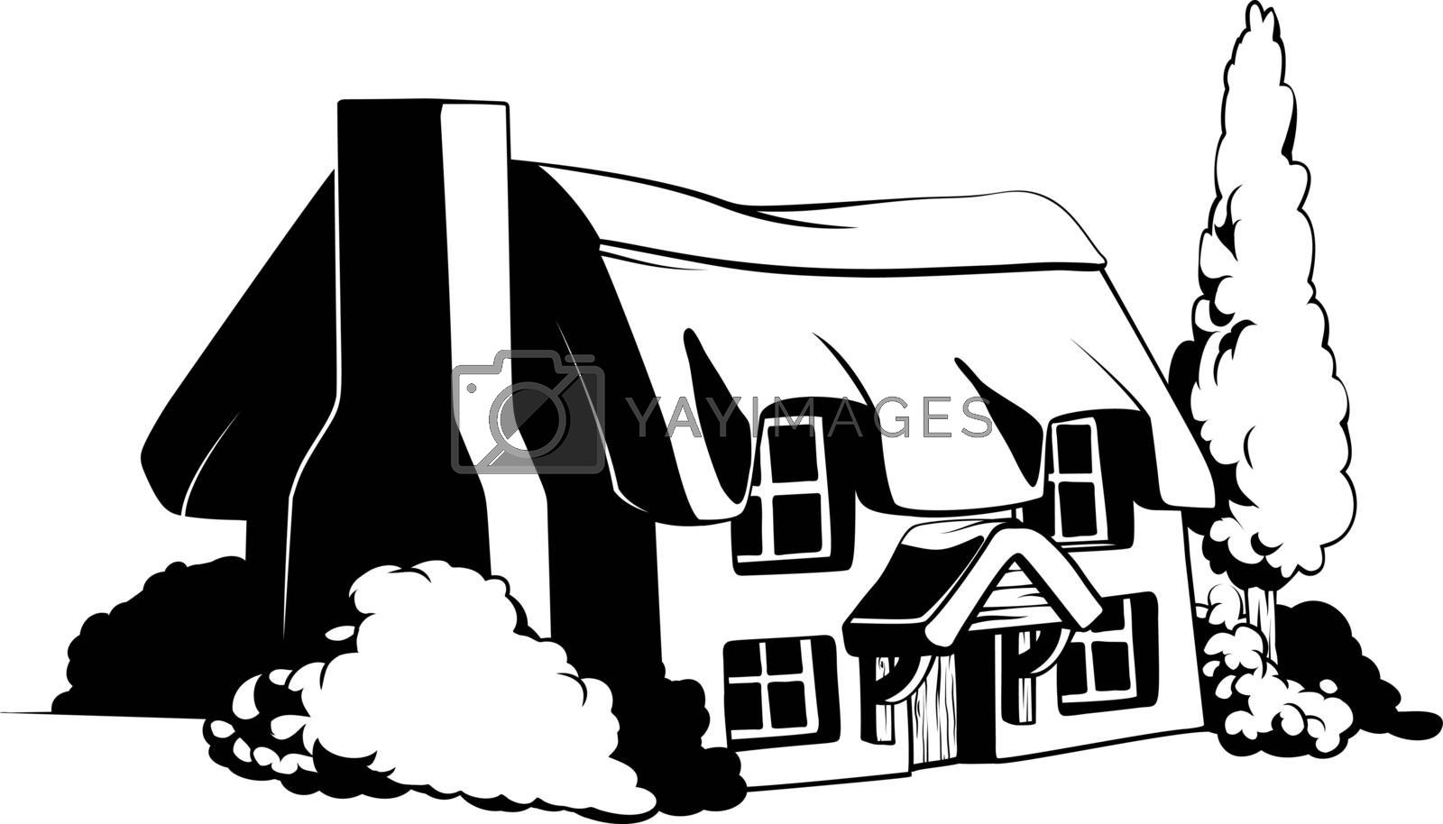 Country cottage illustration of a cute country or farem cottage house