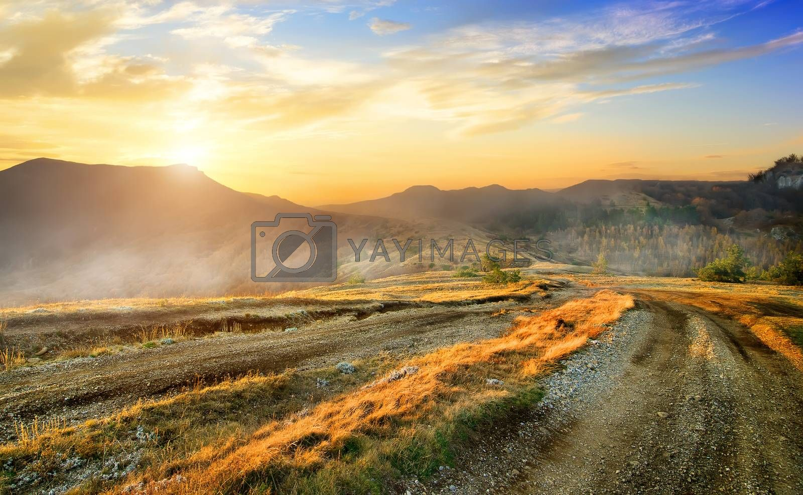 Country road in mountain valley in the autumn
