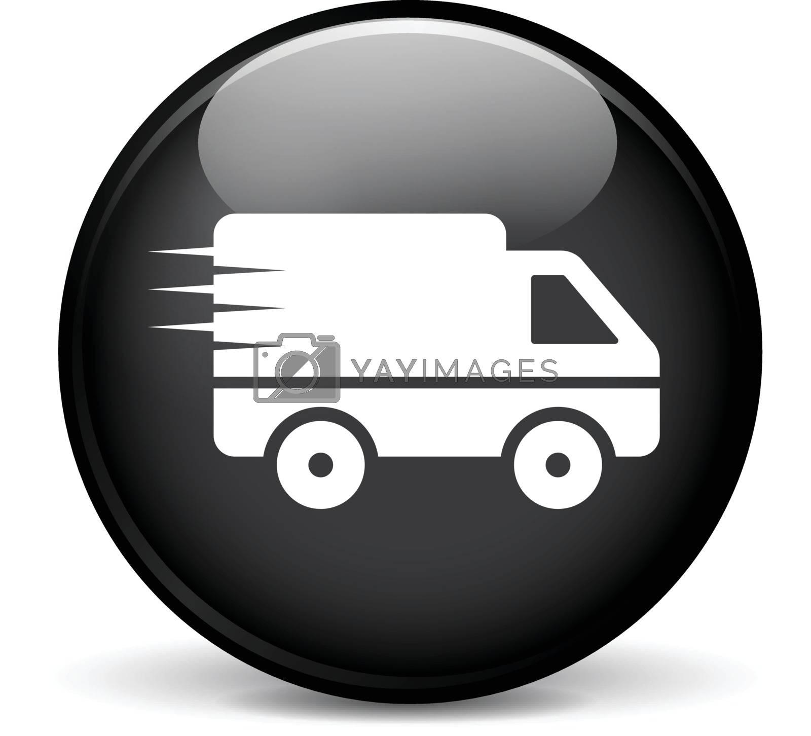 Illustration of van modern design black sphere icon