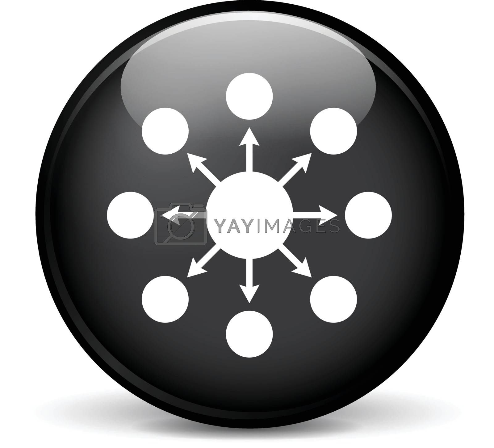 Illustration of seo modern design black sphere icon