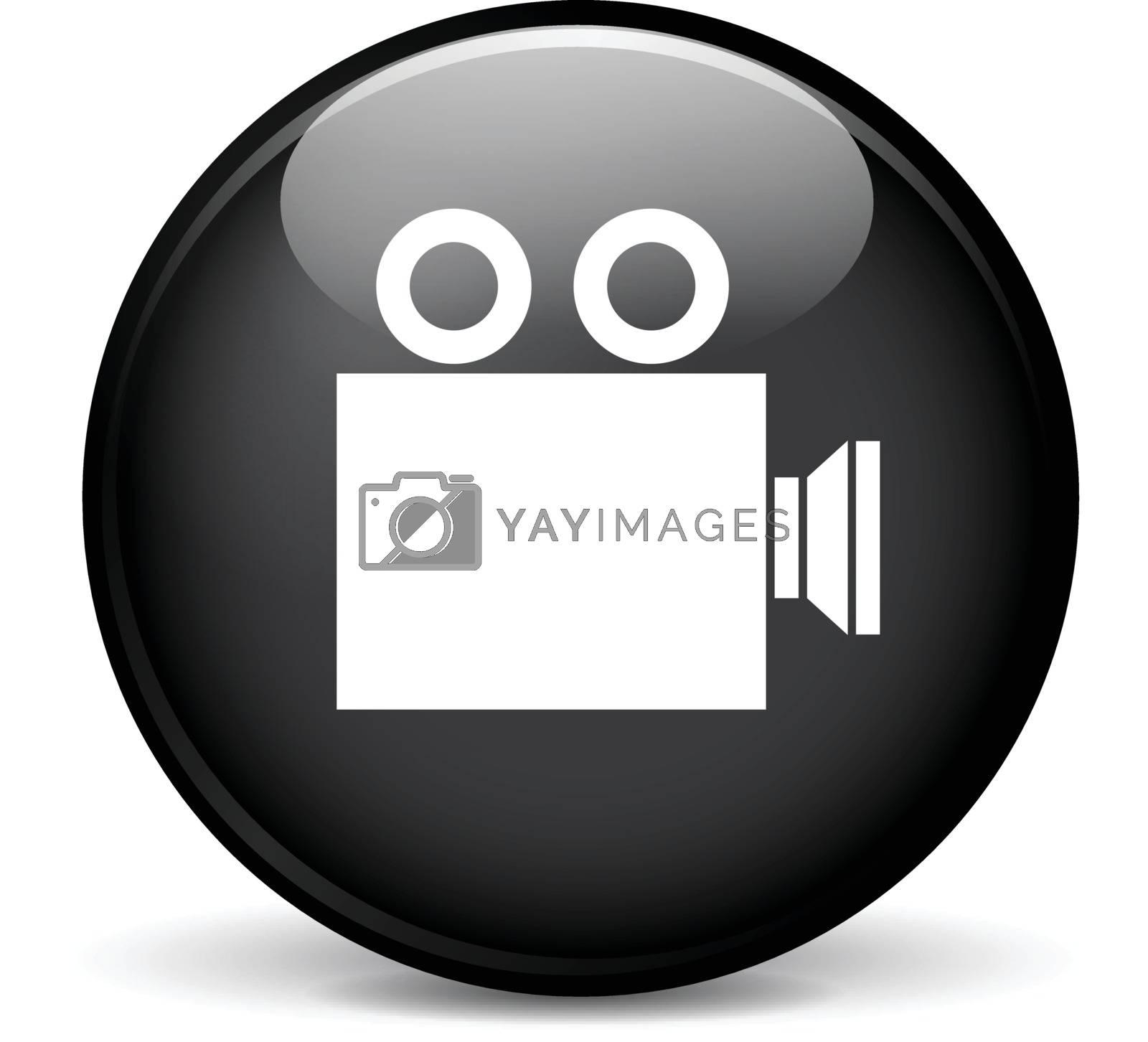 Illustration of cinema modern design black sphere icon