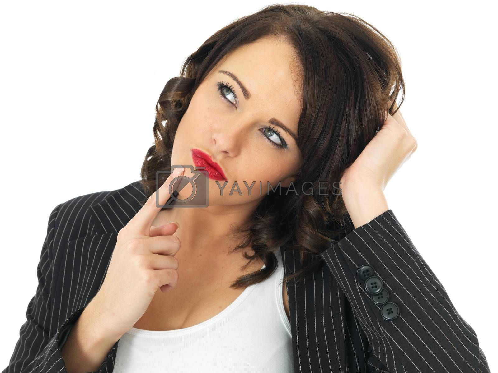 Confused Attractive Young Business Woman