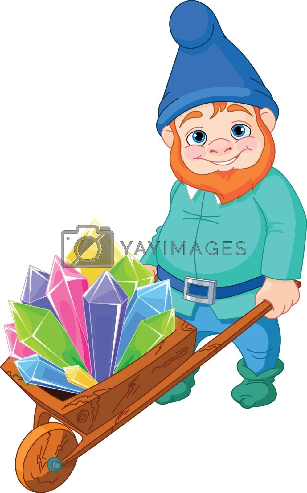 Royalty free image of Gnome with Quartz crystals by Dazdraperma