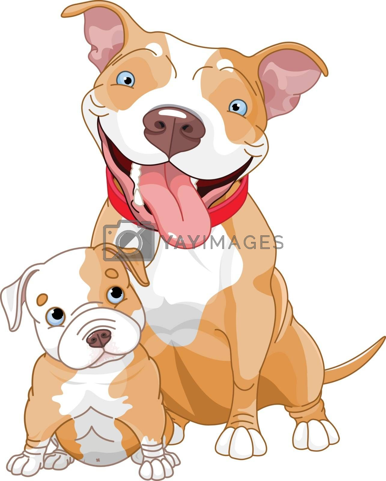 Royalty free image of Pit-bull mother and cub by Dazdraperma