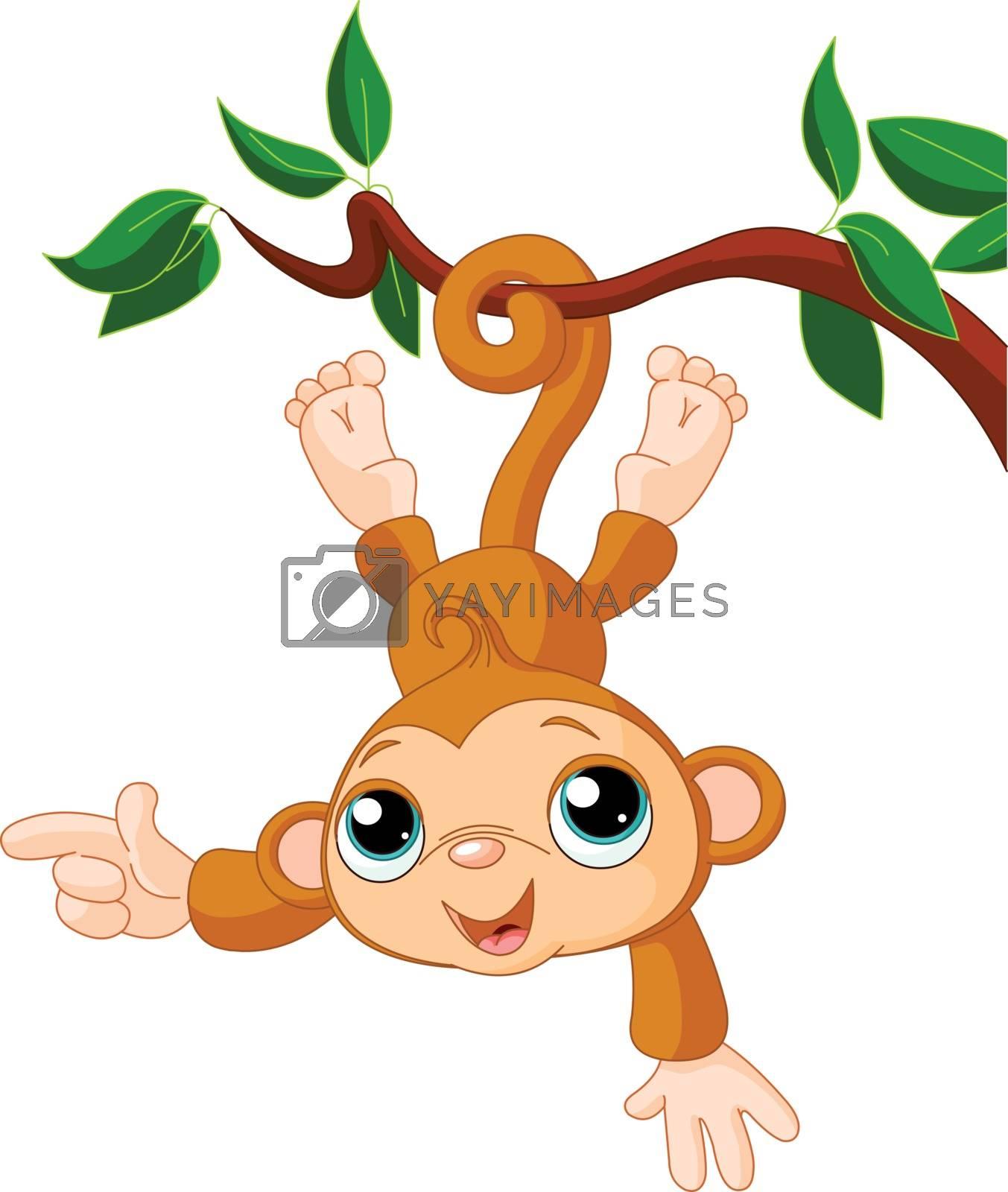 Royalty free image of Baby monkey on a tree by Dazdraperma