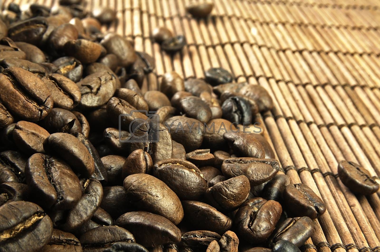 Coffee beans scattered on the table. The visible structure of the grains.