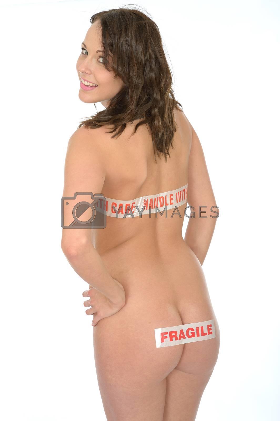 Sexy Sensual Naked Young Pin Up Woman Wearing Descrete Warning Packaging Tape