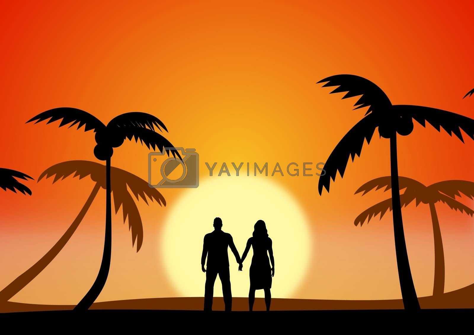 Illustration of a couple on holiday