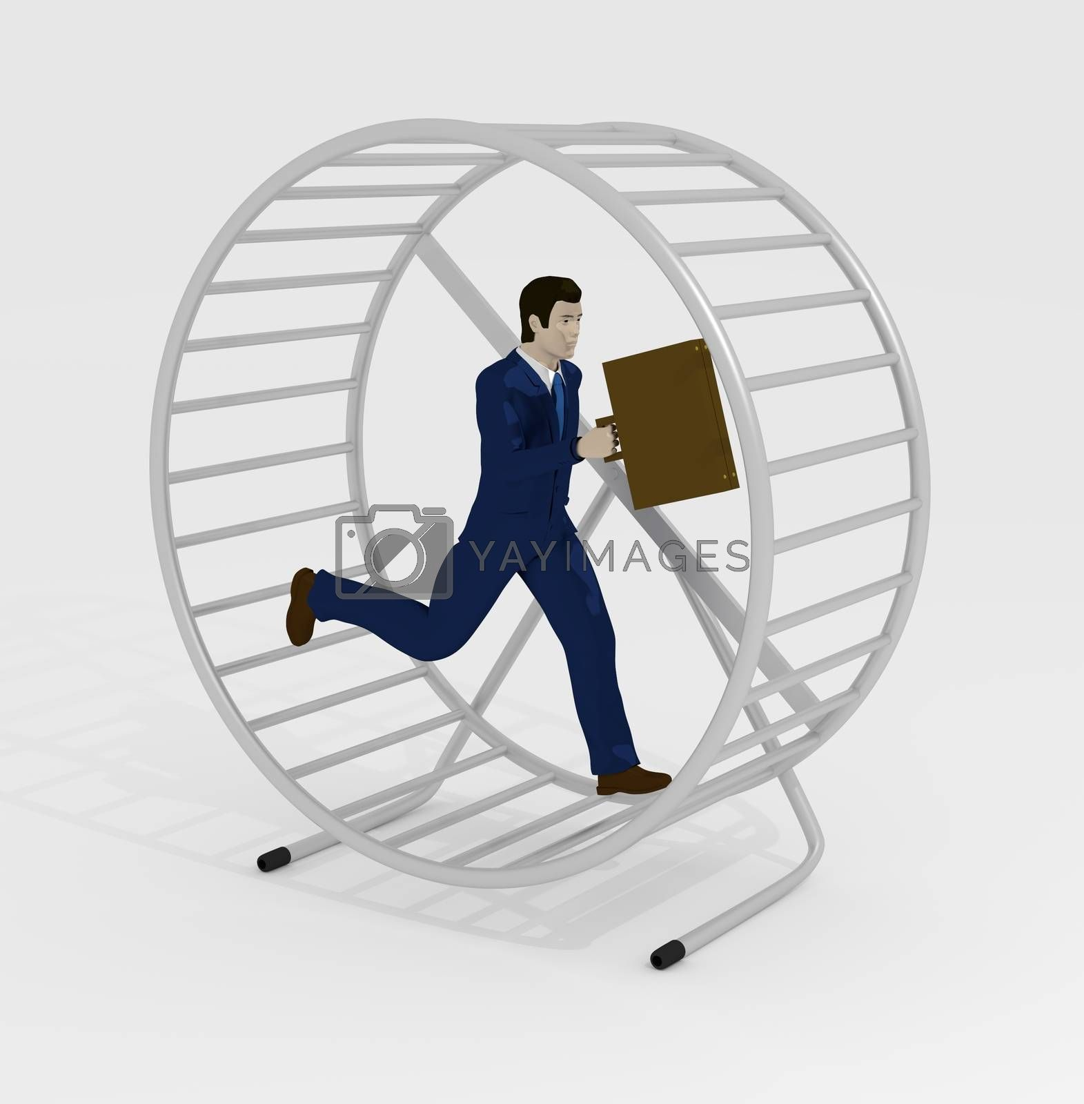 Illustration of a businessman running inside a hamster wheel
