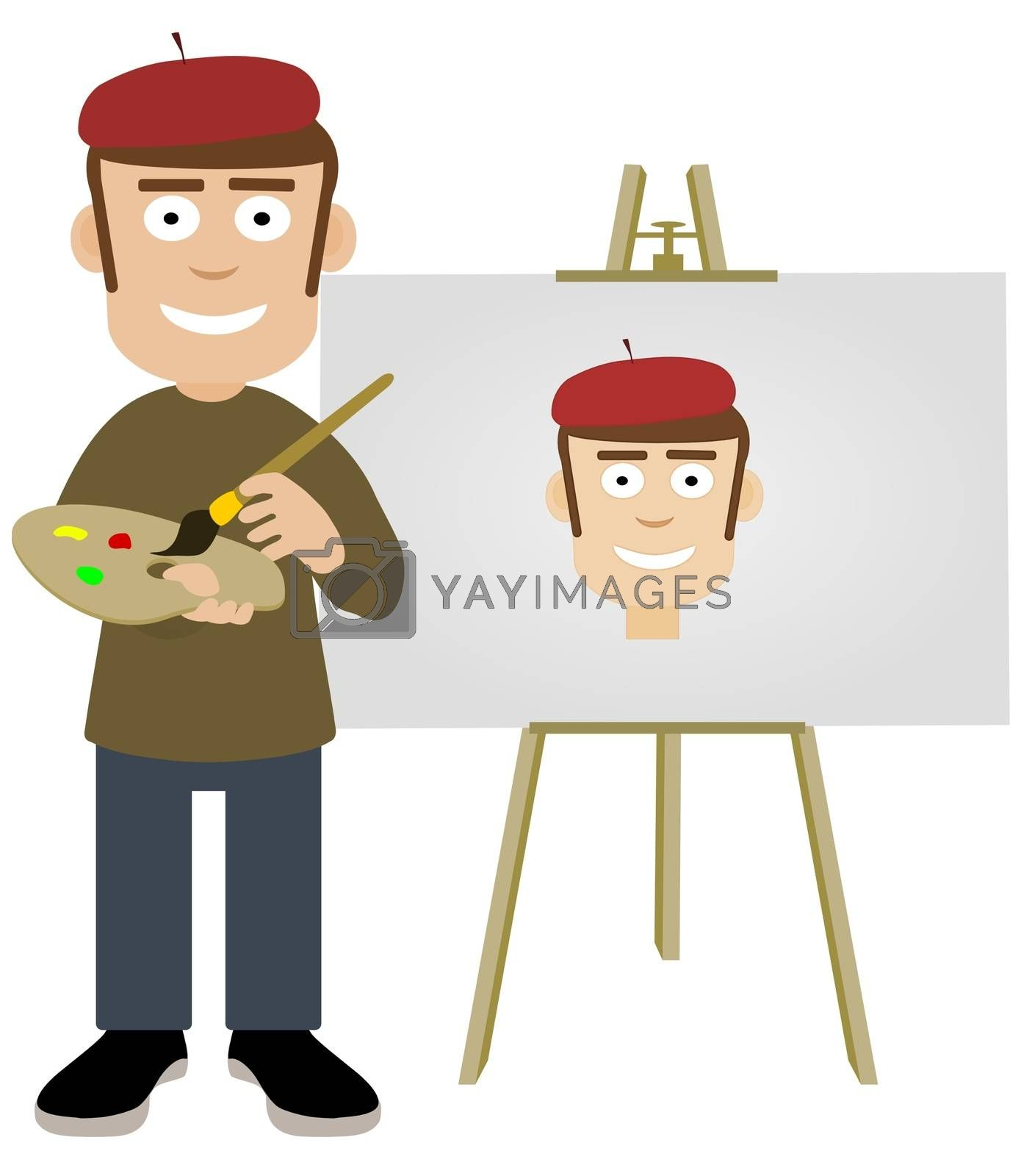 Illustration of an artist painting a self portrait
