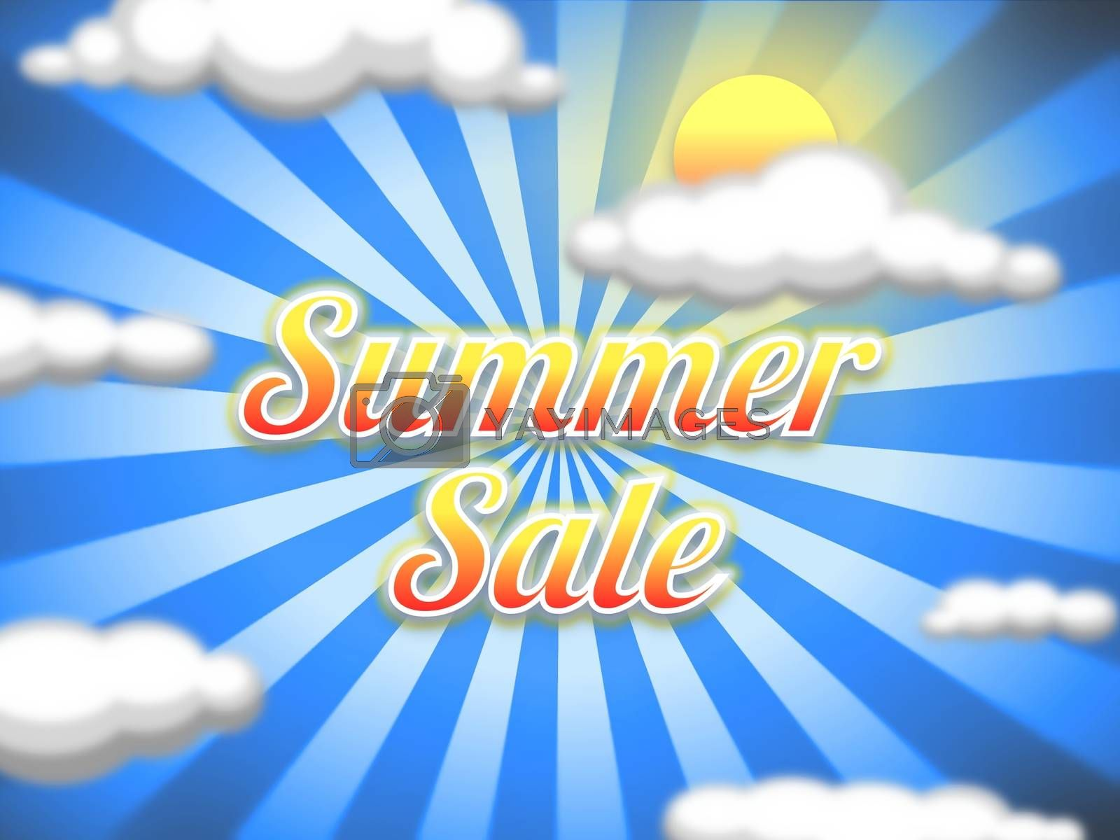 """Illustration of a sun and sky background with the words """"Summer Sale"""""""
