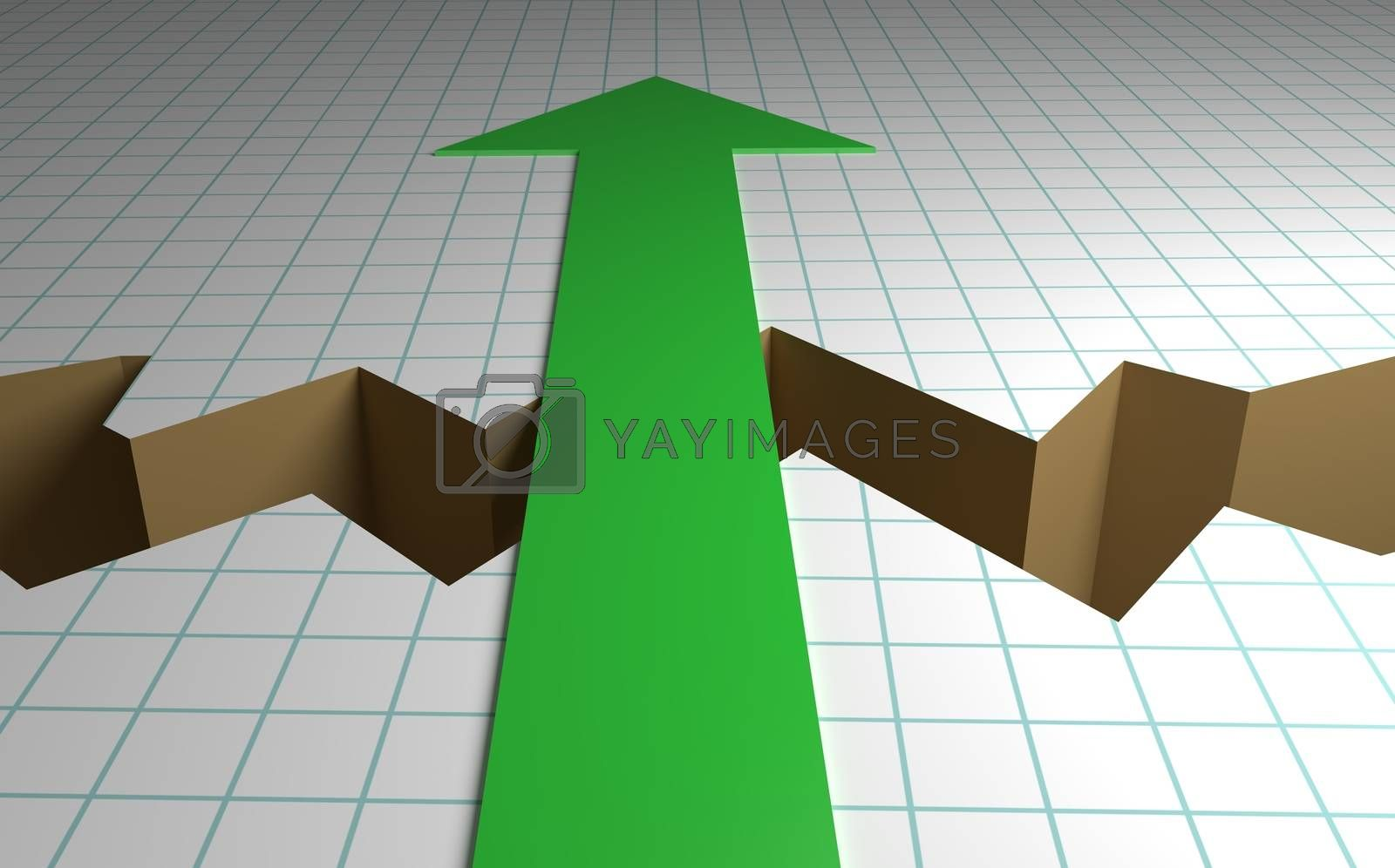 Business graph paper with a crack down the middle and a green arrow showing the way forward