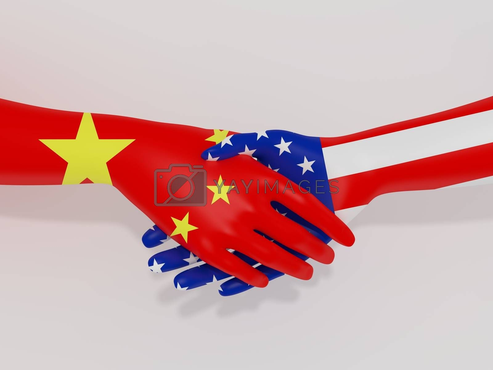 Illustration of shaking hands with China and America flags as textures