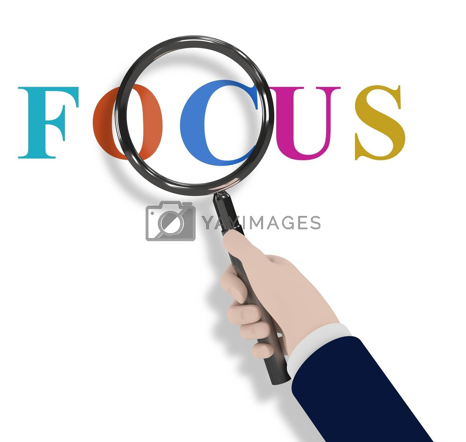 Illustration of a hand holding a magnifying glass with the word Focus