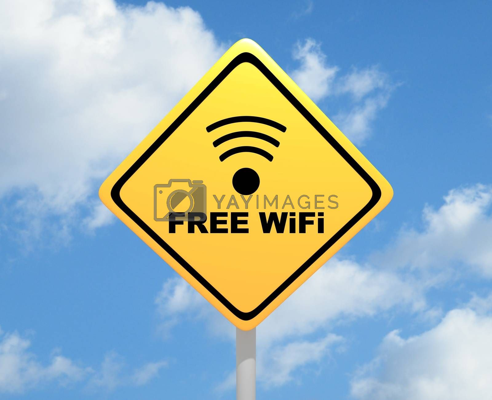 """Illustration of a yellow road sign with the words """"Free WiFi"""""""