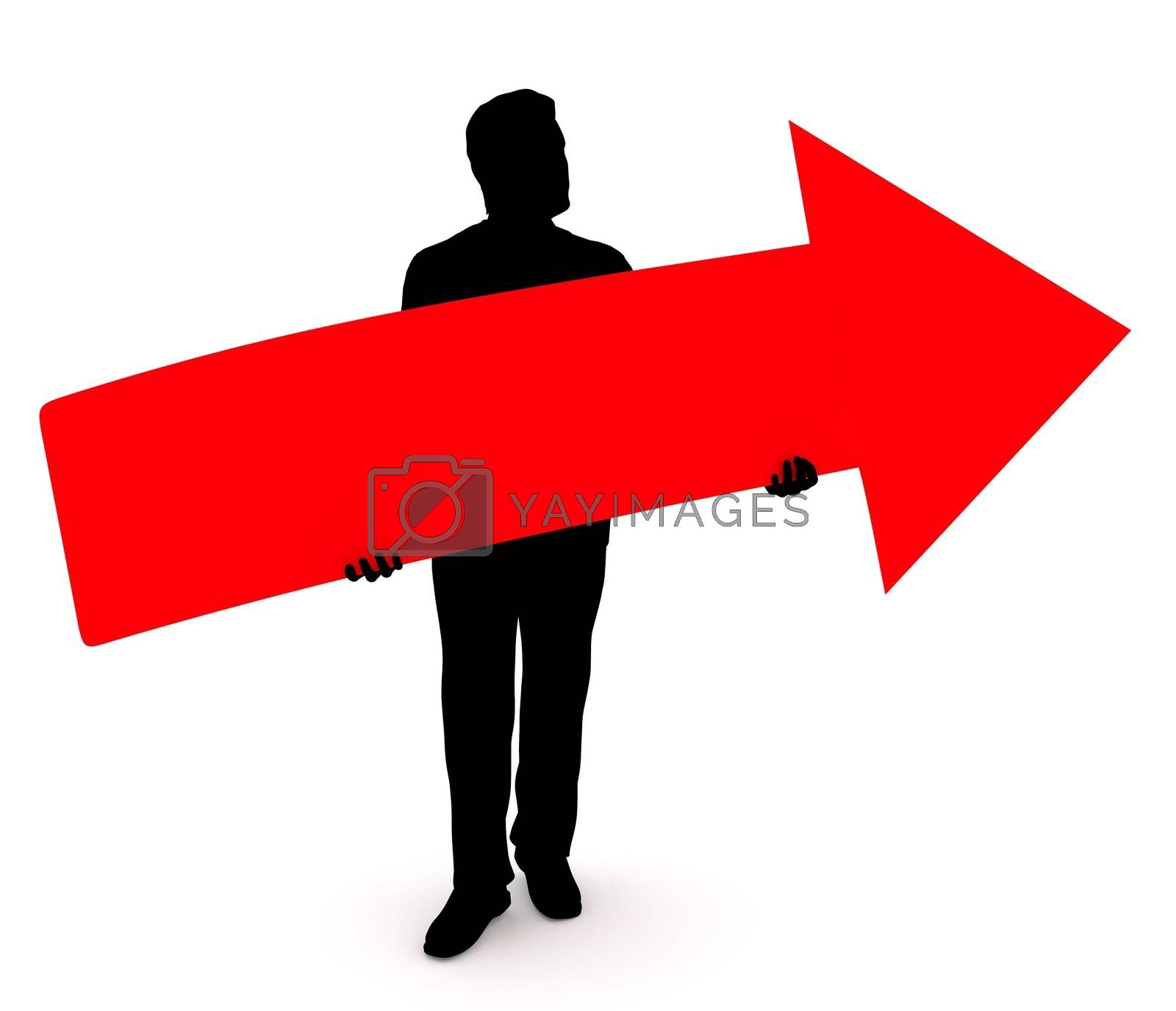 Illustration of a man holding a red arrow