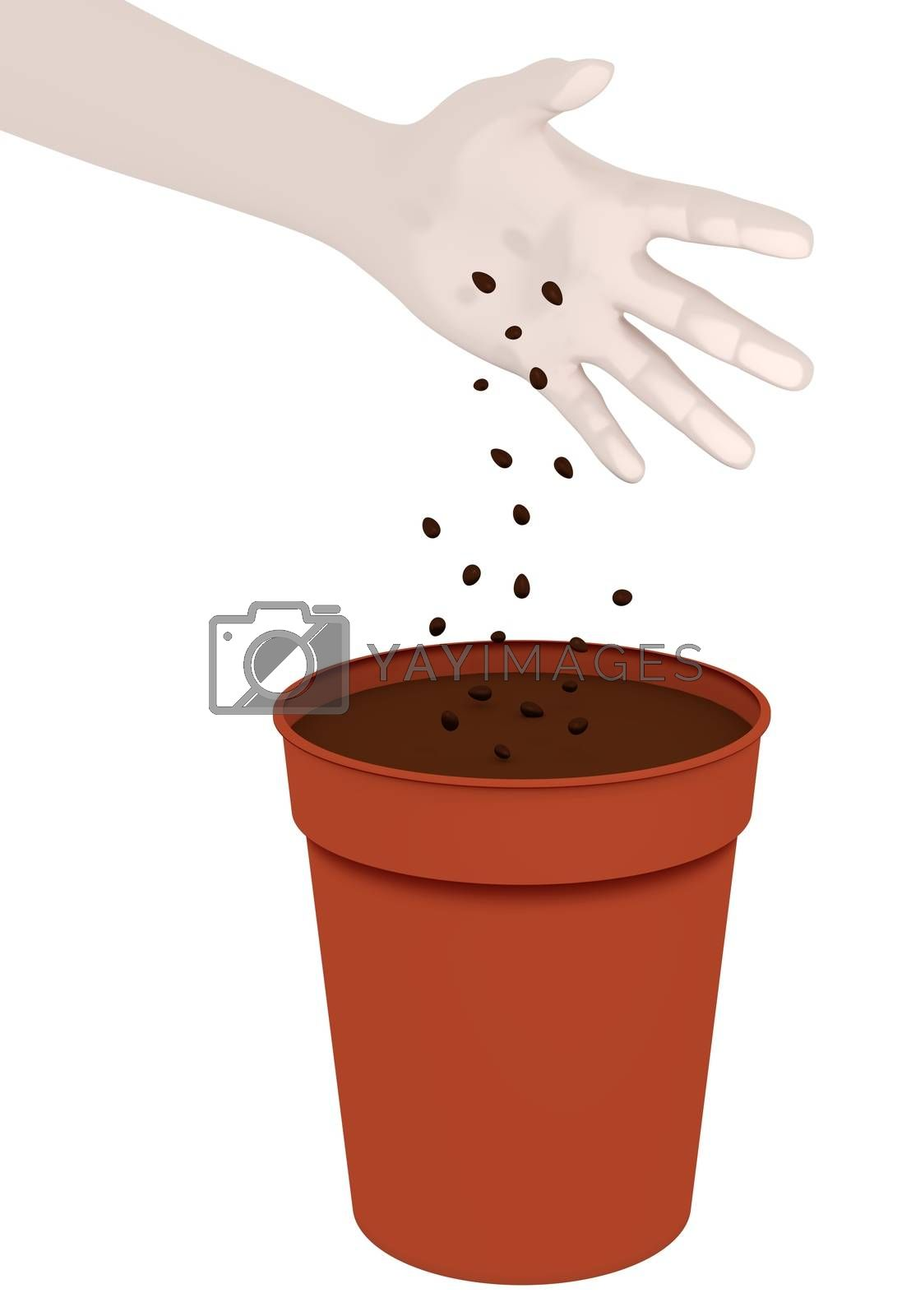 Illustration of a hand dropping seeds into a plant pot