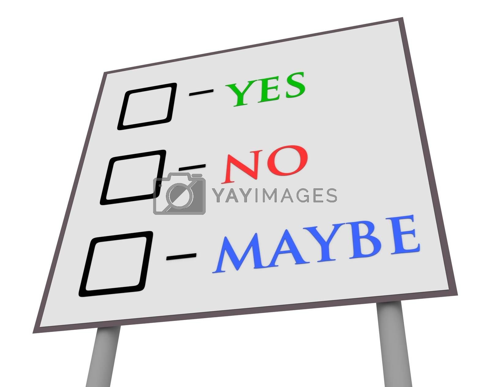 Illustration of a sign with yes,no and maybe vote boxes