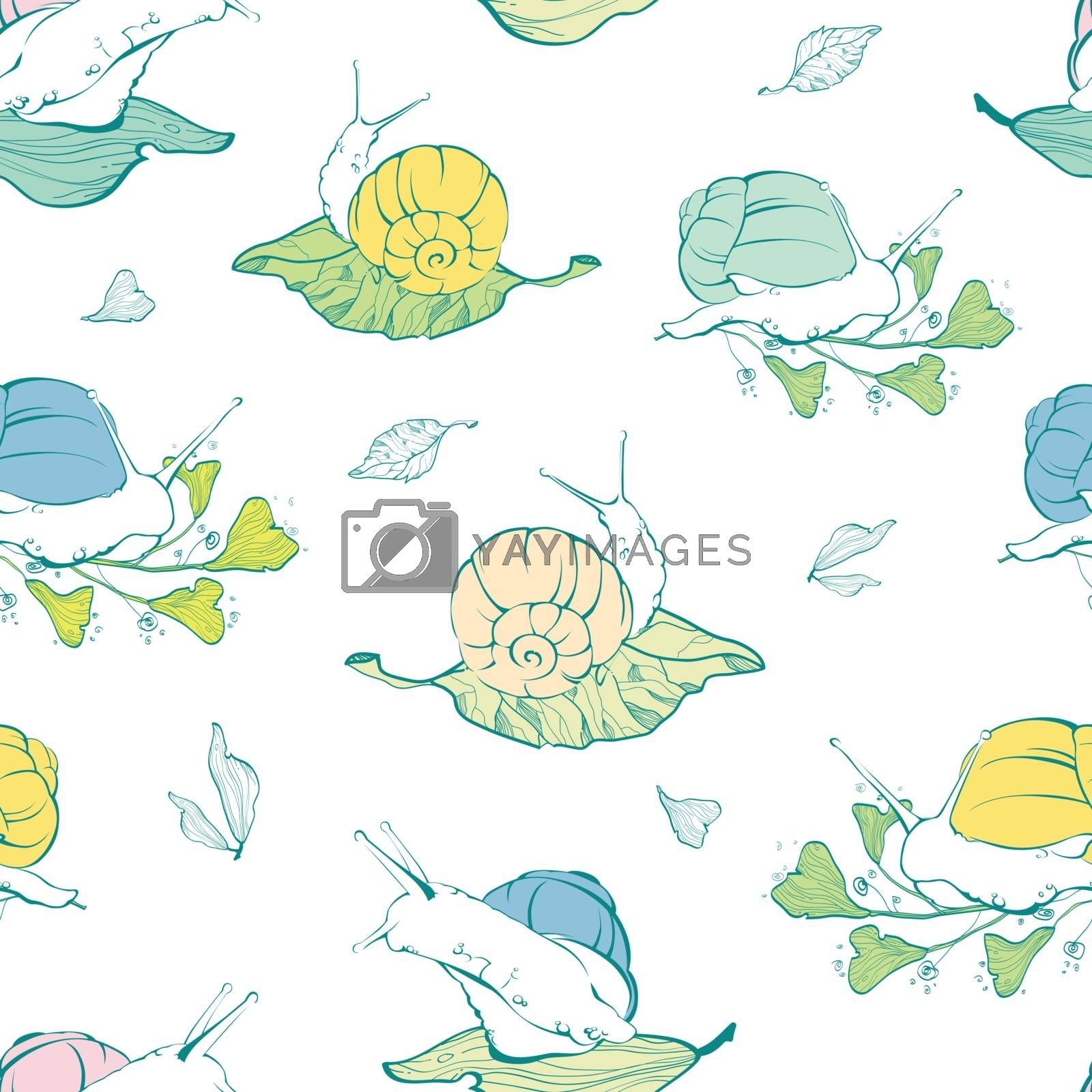 Vector lineart snails on leaves seamless pattern background graphic design