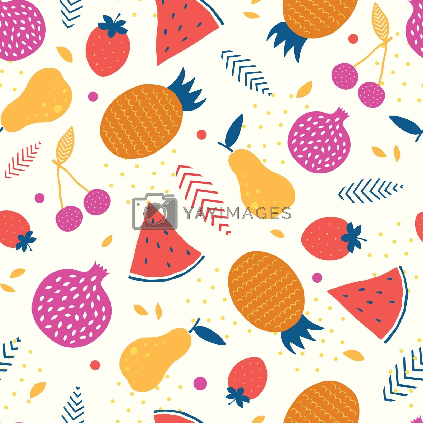 Vector colorful tasty fruit seamless pattern background graphic design