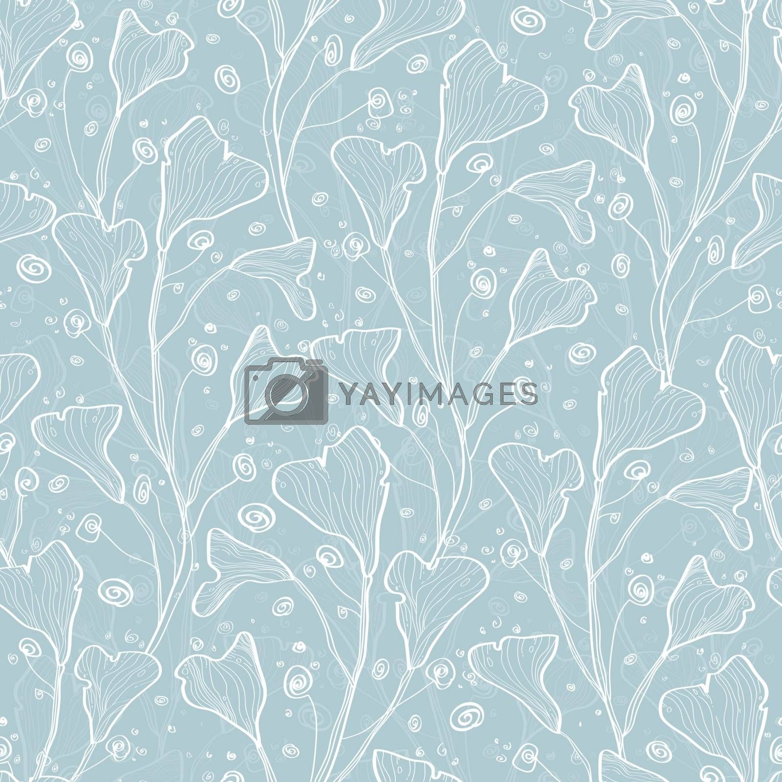 Vector silver leaves texture seamless pattern background graphic design