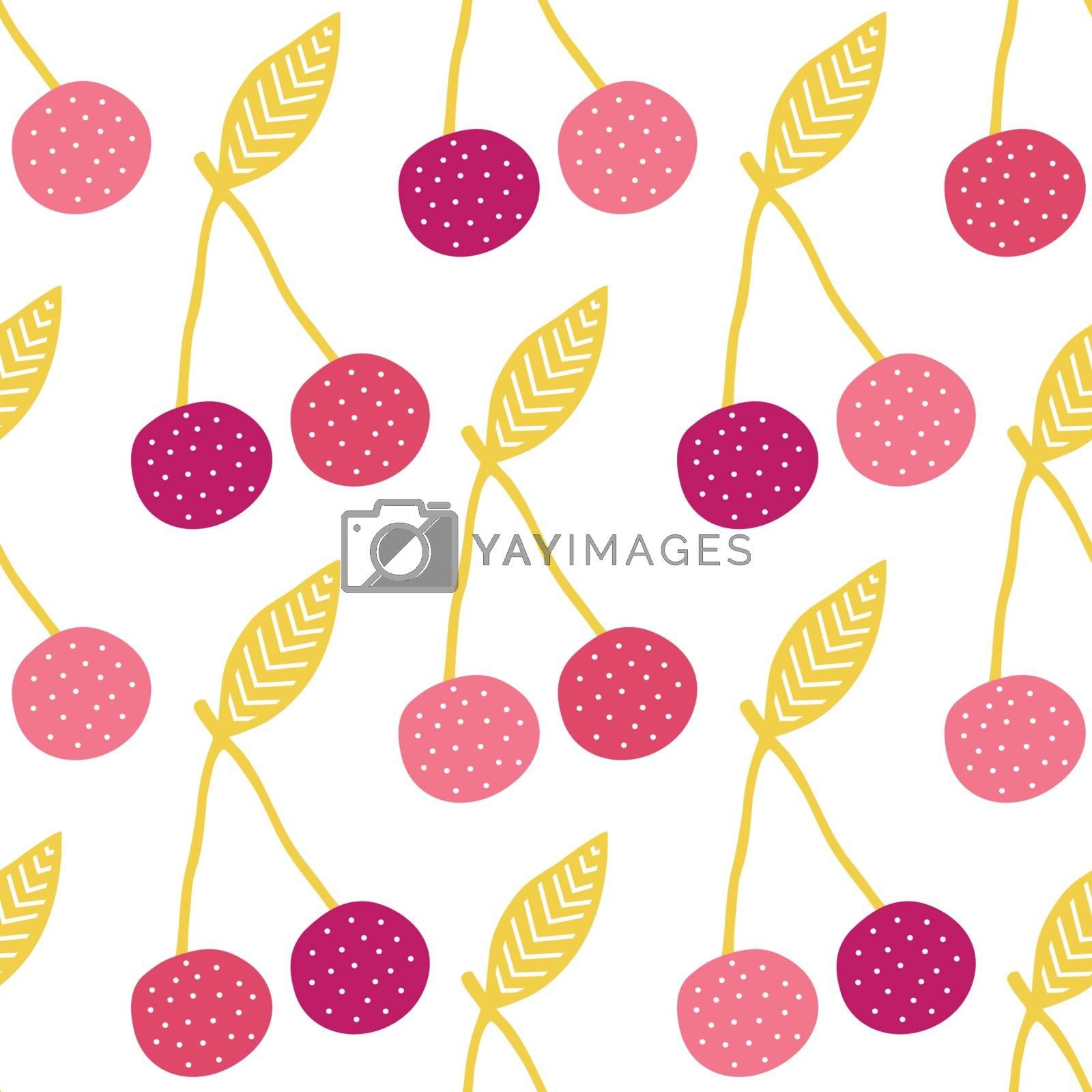 Vector yummy cherries seamless pattern background graphic design
