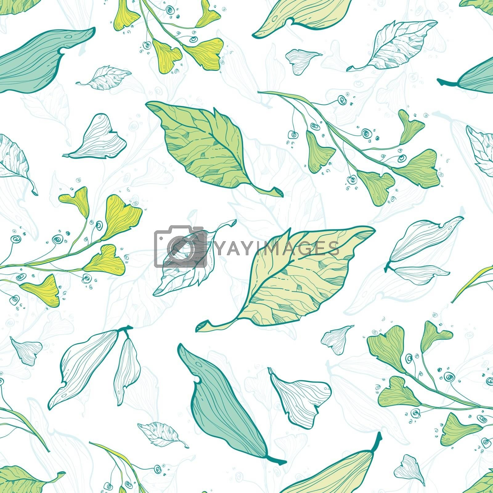 Vector lineart spring leaves seamless pattern background graphic design