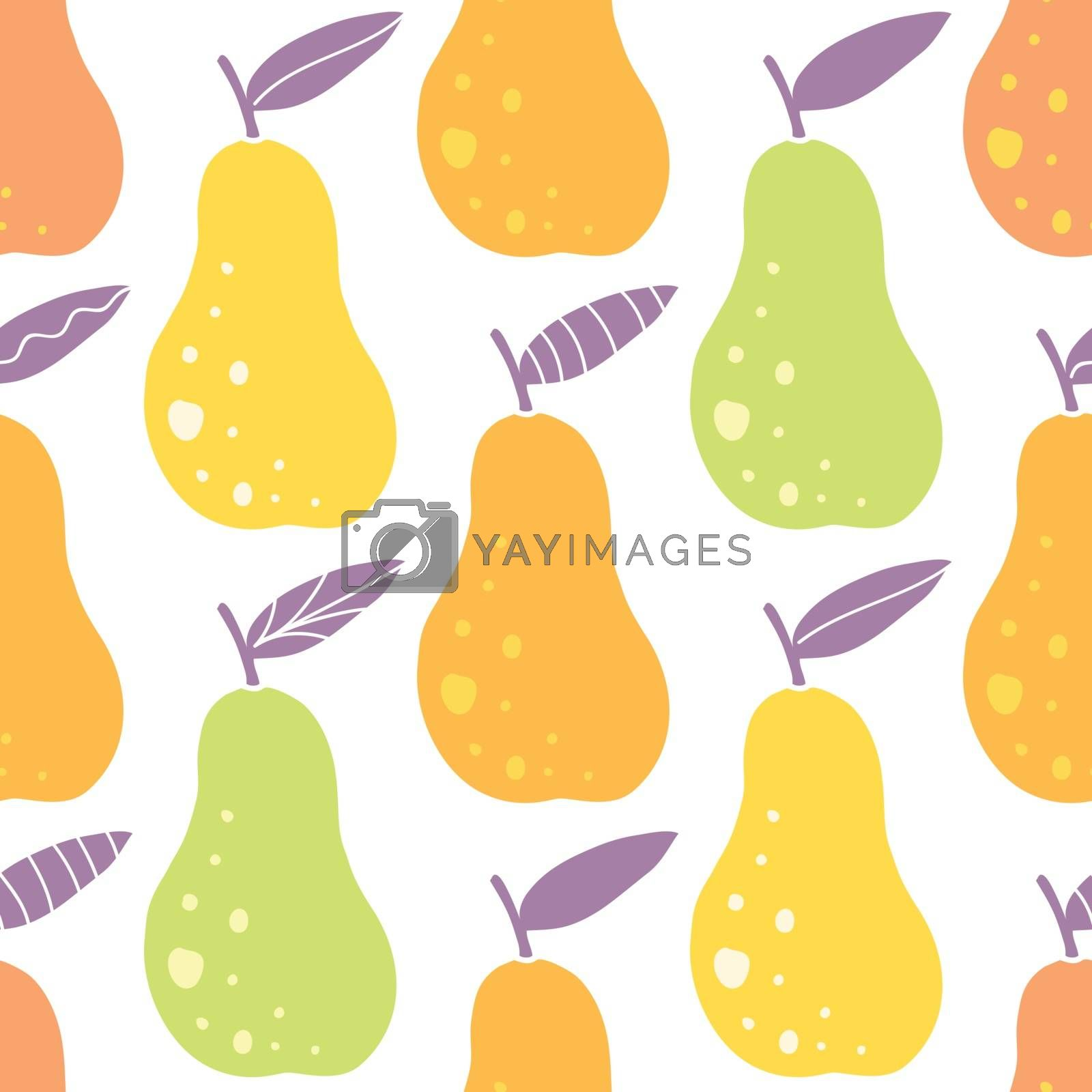 Vector yummy pears seamless pattern background graphic design
