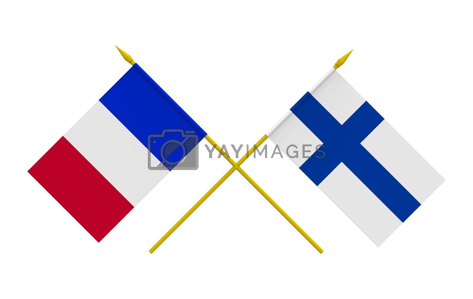 Royalty free image of Flags, Finland and France by Boris15