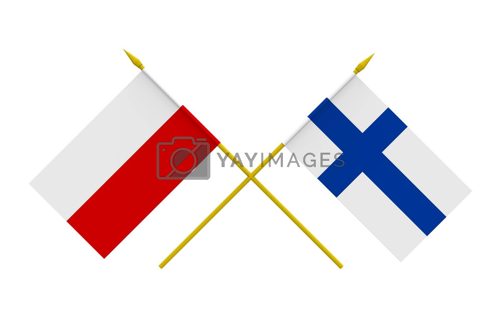 Royalty free image of Flags, Finland and Poland by Boris15