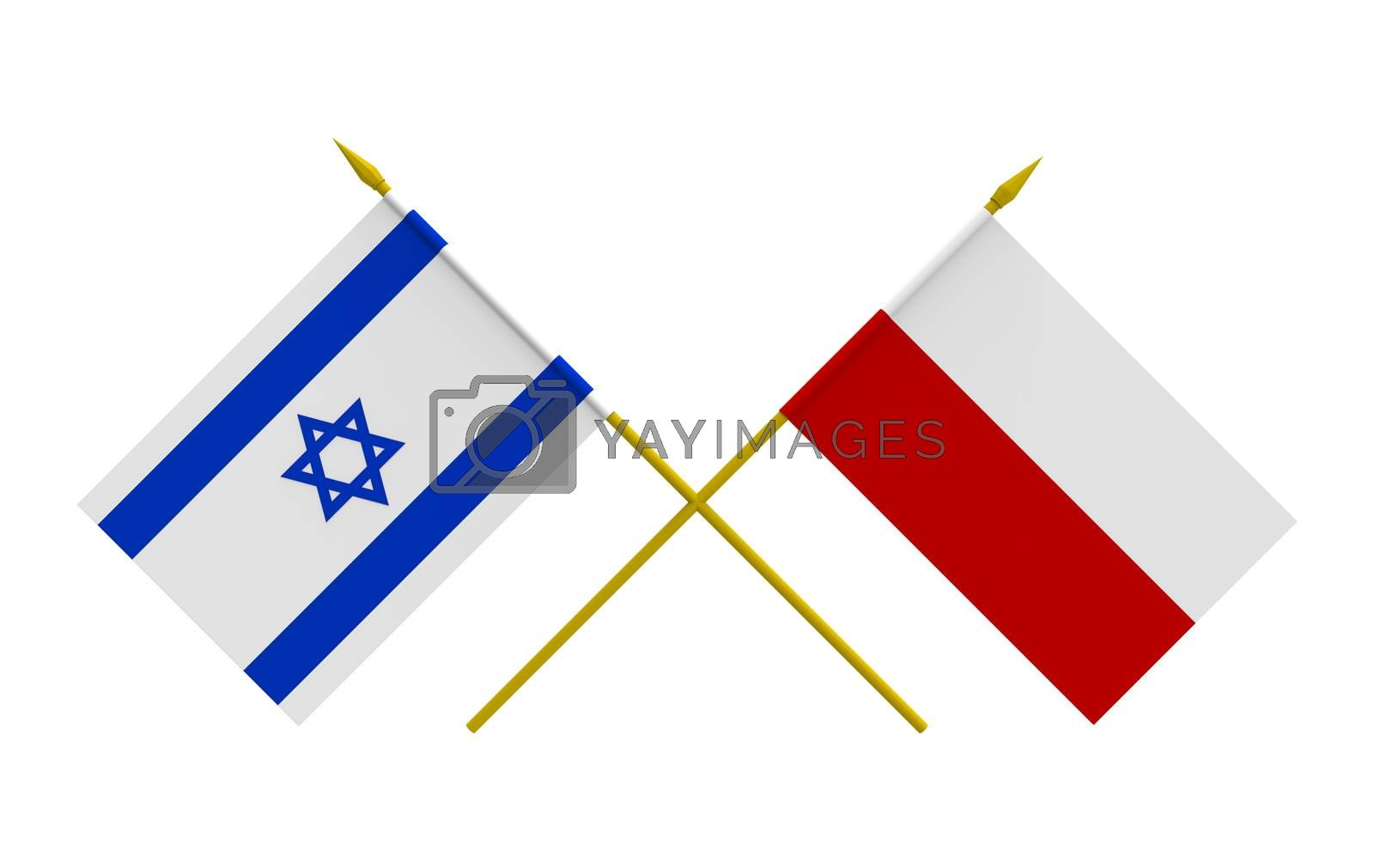 Royalty free image of Flags, Israel and Poland by Boris15