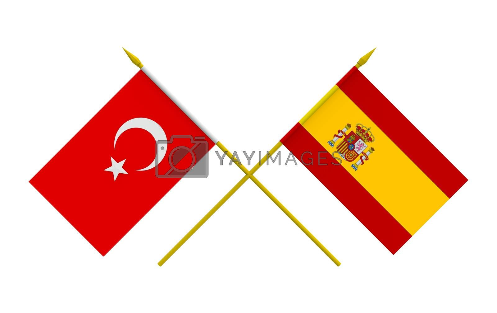 Royalty free image of Flags, Spain and Turkey by Boris15