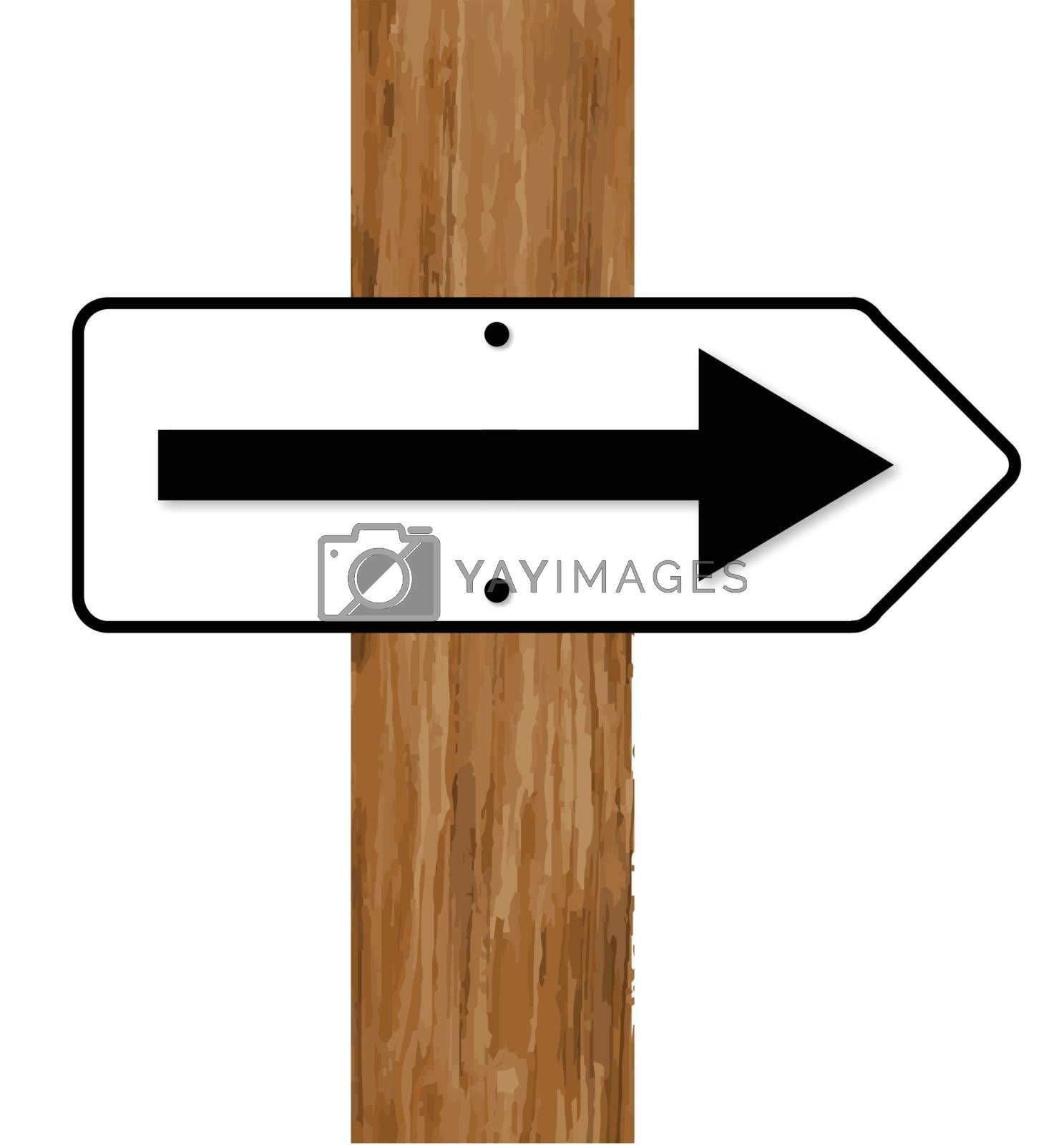 A white and black traffic arrow fixed to a wooden pole over a white background