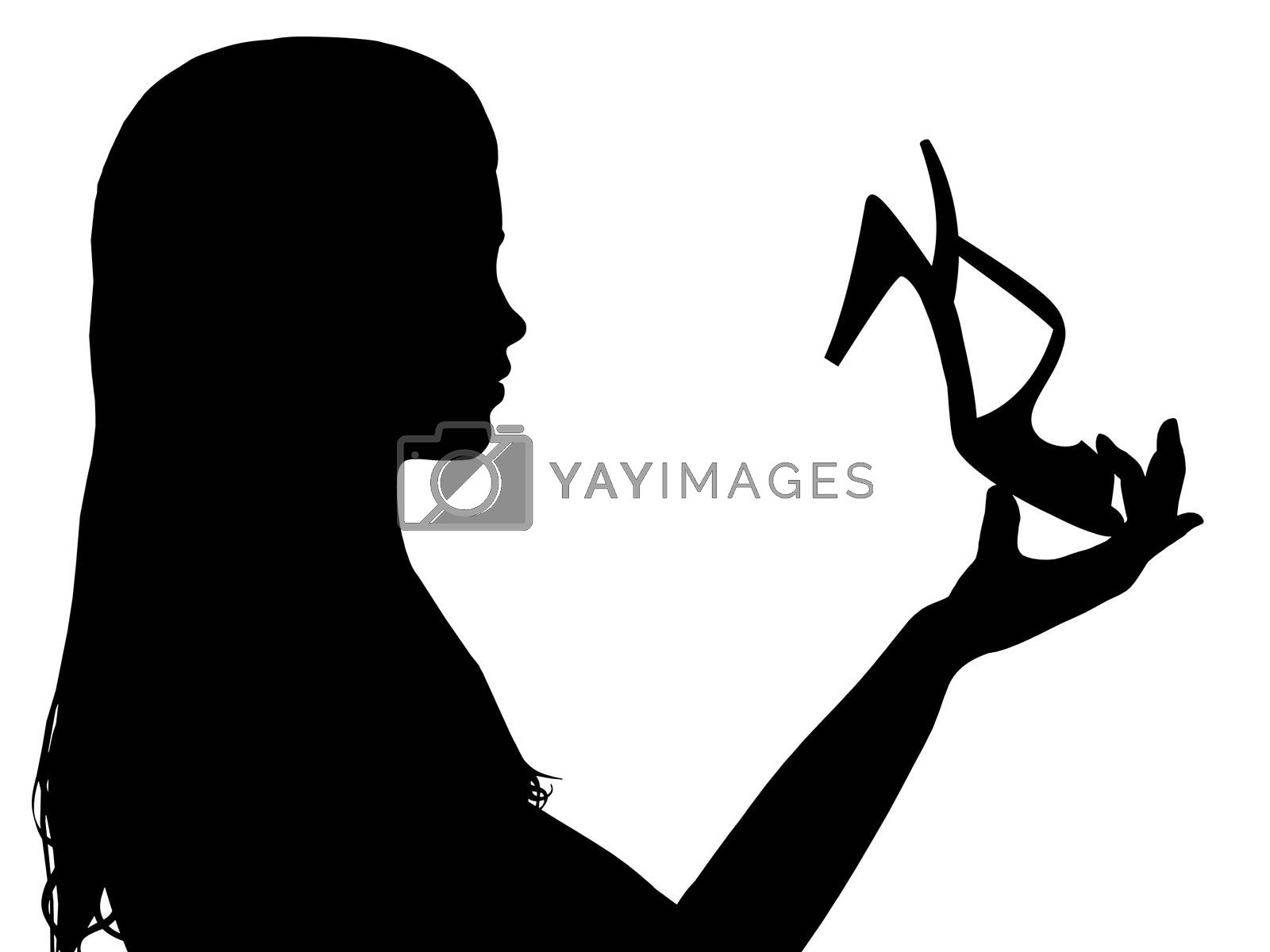 Illustration of a girl holding a shoe