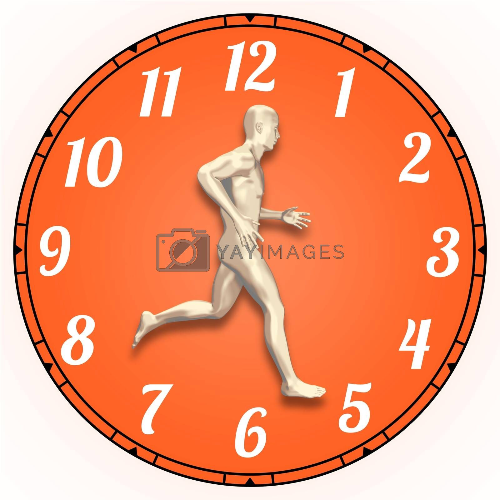 Illustration of a person running on a clock face