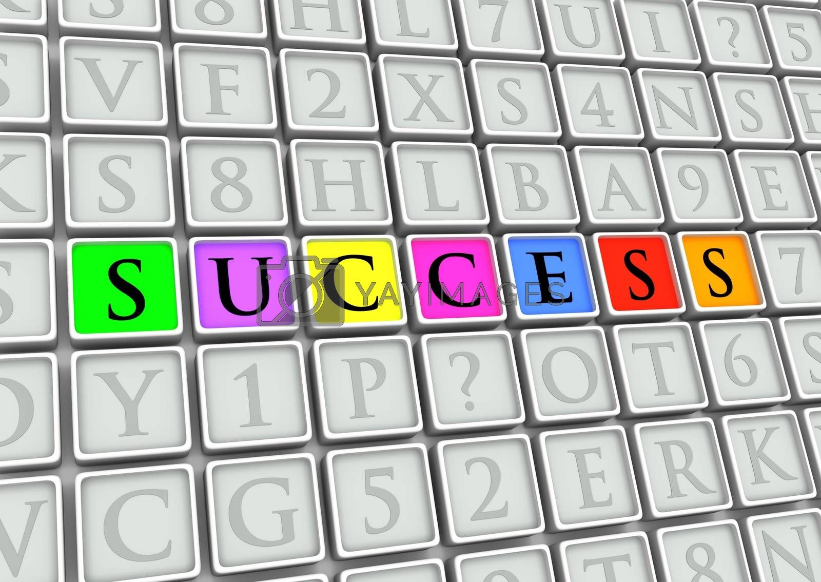 """Illustrated tiles with the word """"Success"""" highlighted in colors"""